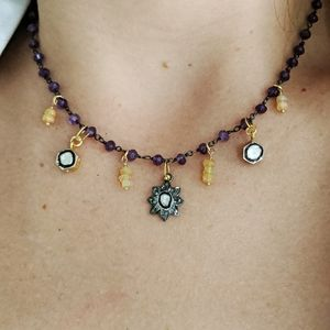 Diamond Opal and Amethyst Choker